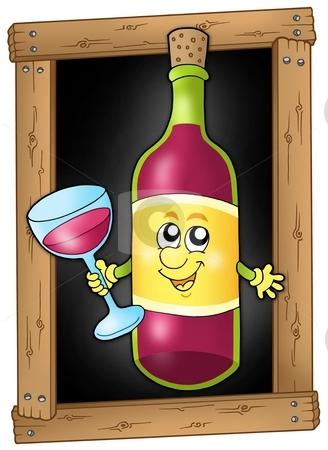 Cartoon wine on blackboard stock photo, Cartoon wine on blackboard - color illustration. by Klara Viskova