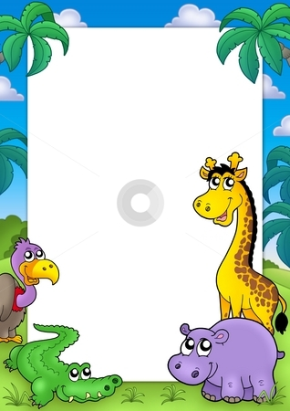 African frame with animals 2 stock photo, African frame with animals 2 - color illustration. by Klara Viskova