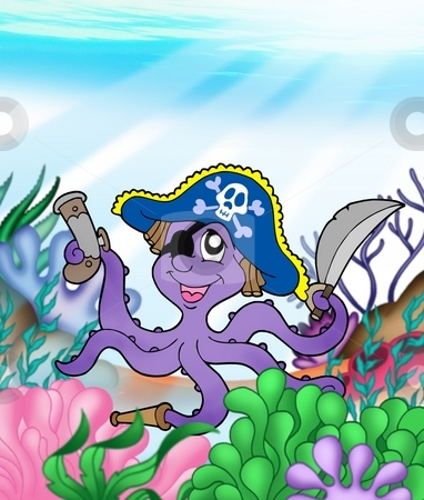 Pirate octopus underwater stock photo, Pirate octopus underwater - color illustration. by Klara Viskova