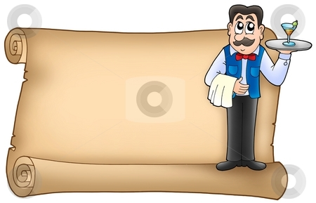 Scroll with waiter stock photo, Scroll with waiter - color illustration. by Klara Viskova