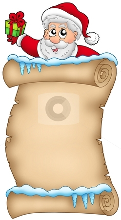 Winter parchment with Santa Claus 2 stock photo, Winter parchment with Santa Claus 2 - color illustration. by Klara Viskova