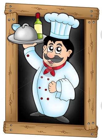 Chef holding meal on blackboard stock photo, Chef holding meal on blackboard - color illustration. by Klara Viskova