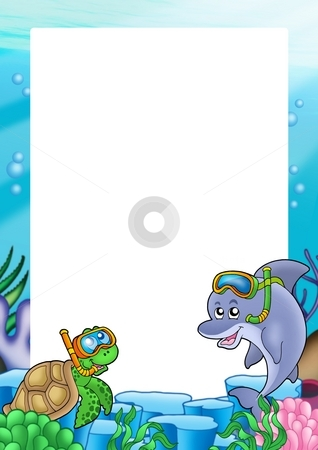 Frame with turtle and dolphin stock photo, Frame with turtle and dolphin - color illustration. by Klara Viskova