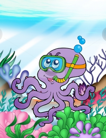 Octopus diver underwater stock photo, Octopus diver underwater - color illustration. by Klara Viskova
