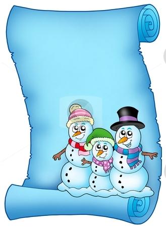 Blue parchment with snowman family stock photo, Blue parchment with snowman family - color illustration. by Klara Viskova
