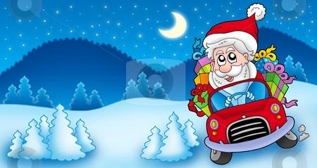 Landscape with Santa Claus driving car stock photo, Landscape with Santa Claus driving car - color illustration. by Klara Viskova