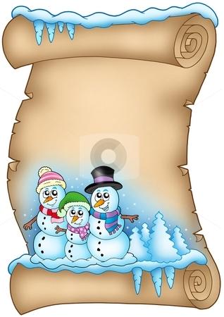 Winter parchment with snowman family stock photo, Winter parchment with snowman family - color illustration. by Klara Viskova