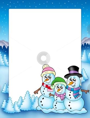 Winter frame with snowman family stock photo, Winter frame with snowman family - color illustration. by Klara Viskova