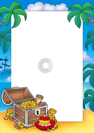 Frame with big treasure chest stock photo, Frame with big treasure chest - color illustration. by Klara Viskova