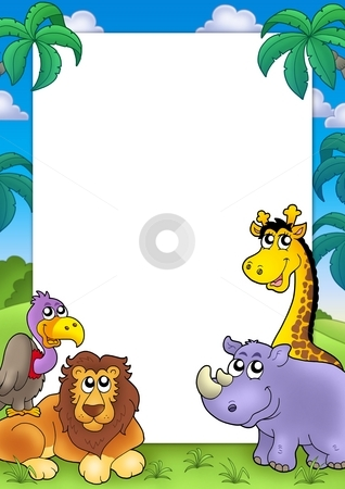 African frame with animals 3 stock photo, African frame with animals 3 - color illustration. by Klara Viskova