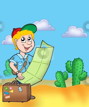 Boy with map outdoor stock photo, Boy with map outdoor - color illustration. by Klara Viskova