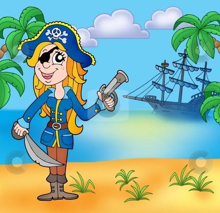 Pirate girl on beach 3 stock photo, Pirate girl on beach 3 - color illustration. by Klara Viskova