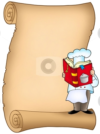 Parchment with chef and book stock photo, Parchment with chef and book - color illustration. by Klara Viskova