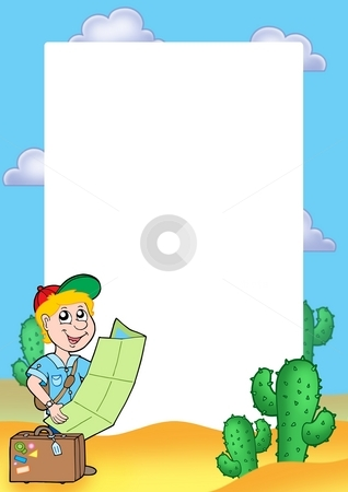 Frame with boy traveller stock photo, Frame with boy traveller - color illustration. by Klara Viskova