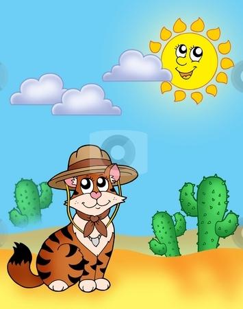 Cat in hat outdoor stock photo, Cat in hat outdoor - color illustration. by Klara Viskova
