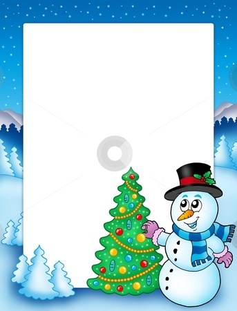 Winter frame with snowman and tree stock photo, Winter frame with snowman and tree - color illustration. by Klara Viskova