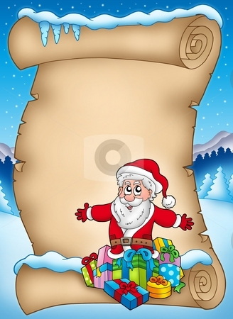 Winter parchment with Santa and gift stock photo, Winter parchment with Santa and gifts - color illustration. by Klara Viskova