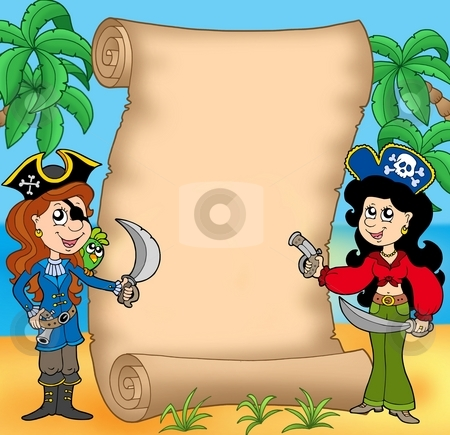 Pirate girls with scroll 1 stock photo, Pirate girls with scroll 1 - color illustration. by Klara Viskova