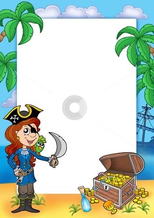 Frame with pirate girl and treasure 2 stock photo, Frame with pirate girl and treasure 2 - color illustration. by Klara Viskova