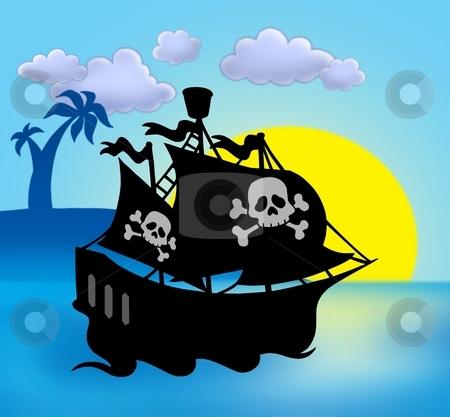Sunset with pirate ship silhouette stock photo, Sunset with pirate ship silhouette - color illustration. by Klara Viskova