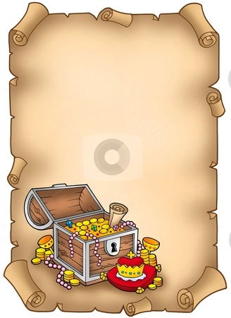 Parchment with big treasure chest stock photo, Parchment with big treasure chest - color illustration. by Klara Viskova