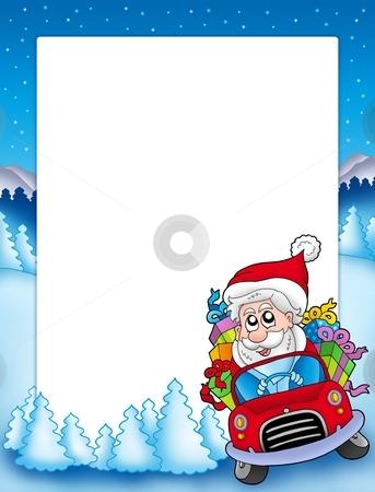 Frame with Santa Claus driving car stock photo, Frame with Santa Claus driving car - color illustration. by Klara Viskova