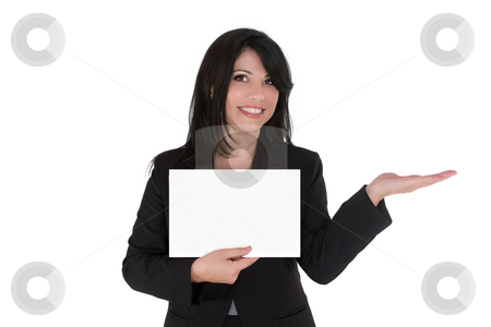 Woman advertising product stock photo, Female with hand outstretched holding your product and displaying a message. by Leah-Anne Thompson