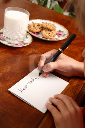 Christmas Eve stock photo, A child writing a letter to Santa by Leah-Anne Thompson