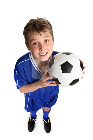 Soccer boy stock photo, A boy ready for a game of soccer. by Leah-Anne Thompson