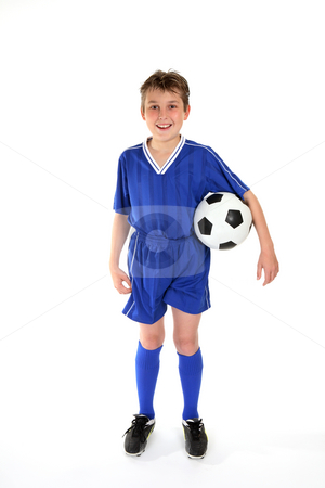 Soccer player stock photo, Football player dressed in unfiorm and holding a ball ready to play by Leah-Anne Thompson