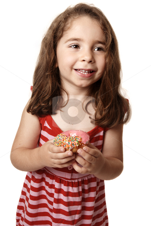 Smiling girl in pink and red dress with doughnut stock photo, Smiling girl wearing a red striped dress is holding an iced pink doughnut. by Leah-Anne Thompson