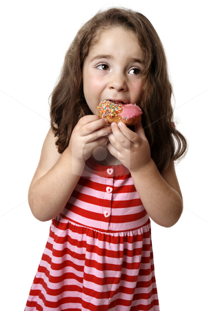 Young girl eating doughnut stock photo, Young girl in a pink and red dressed is eating a pink iced doughnut. by Leah-Anne Thompson