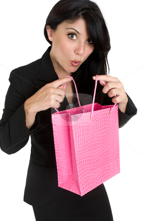 Expressive woman with shopping bag stock photo, Woman with a boutique shopping bag or gift bag. by Leah-Anne Thompson