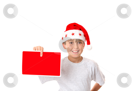 Child with Christmas Message stock photo, A child with a Christmas message or advertising sign by Leah-Anne Thompson