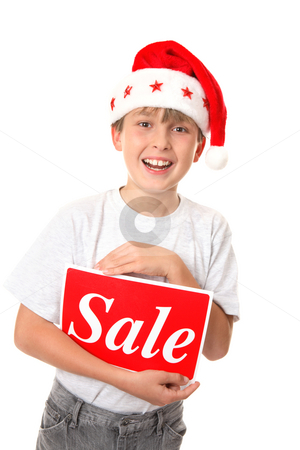 Christmas Sale stock photo, Smiling joyful child holding a Sale Sign - pre or post Christmas sales by Leah-Anne Thompson