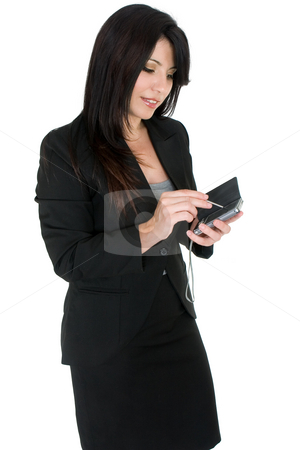 Businesswoman using a pda stock photo, Business woman using a pda device by Leah-Anne Thompson