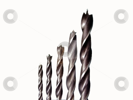 Drills isolated on white  stock photo, Drills isolated on white by Sergey Gorodenskiy