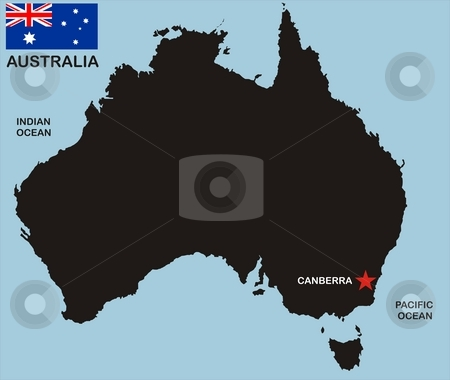 Australia map stock photo, There is a map of Australia country with flag by Tudor Antonel adrian