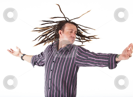 Man with Dreadlocks stock photo, Adult caucasian man with dreadlocks and casual wear on a white background in various poses and facial expressions. Not Isolated by Sean Nel