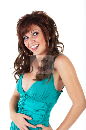 Young adult woman stock photo, Vibrant young adult caucasian woman in a short turquoise dress with a brunette wig, shot on a white background. Not isolated. by Sean Nel