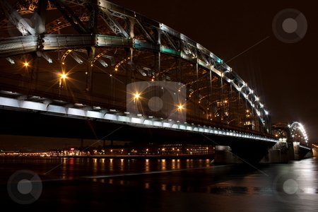 Bolsheokhtinsky bridge stock photo, Bolsheokhtinsky bridge. St. Petersburg. Russia. Autumn night by Alexey Kaznin