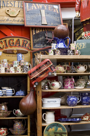 Antique shop stock photo, Collection of Items in a London's antique shop by Lee Torrens
