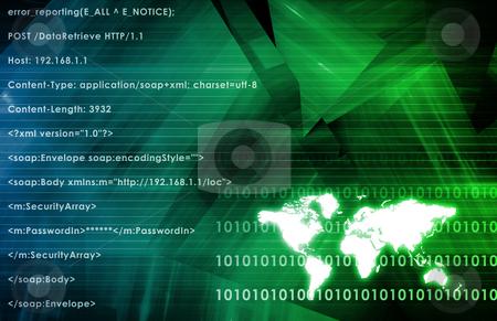 Multimedia Technology stock photo, Global Multimedia Technology in Green Data  Art by Kheng Ho Toh