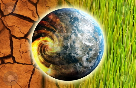 Global Warming stock photo, Global Warming Problem Earth as Concept Art by Kheng Ho Toh