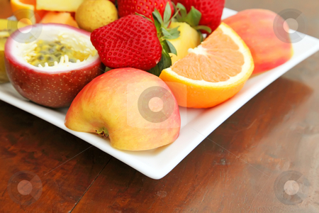 Fresh Fruits stock photo, Fresh Fruits Sliced and Assorted on a Plate by Kheng Ho Toh