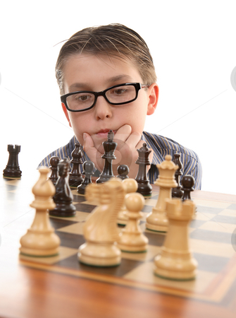 Chess thinker stock photo, Player considering the next best move. by Leah-Anne Thompson