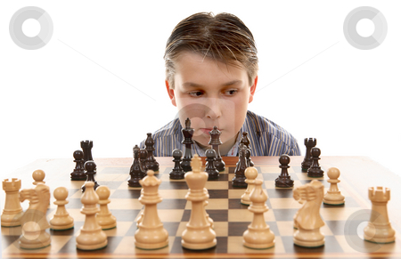 Chess game  evaluation stock photo, Evaluating the players next move by Leah-Anne Thompson