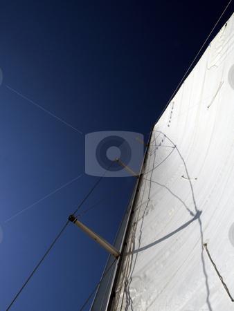 Sail stock photo, White sail dark blue sky by shufu