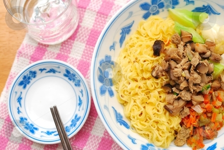 Chinese style vegetarian noodles stock photo, Sumptuous looking Chinese style vegetarian noodles with mock meat and vegetables. Suitable for concepts such as diet and nutrition, healthy eating and healthy lifestyle, and food and beverage. by Wai Chung Tang
