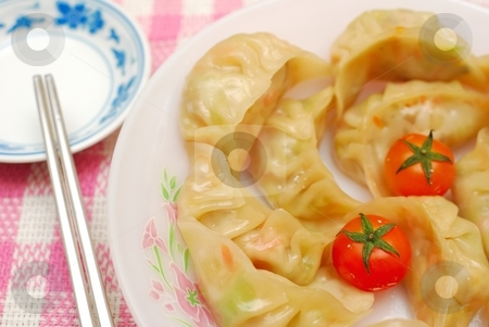 Chinese traditional dumplings stock photo, Sumptuous looking Chinese style traditional vegetarian dumplings. Suitable for concepts such as diet and nutrition, healthy eating and healthy lifestyle, and food and beverage. by Wai Chung Tang